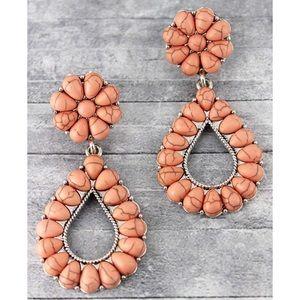 Pink Squash Blossom Drop Dangle Western Earrings